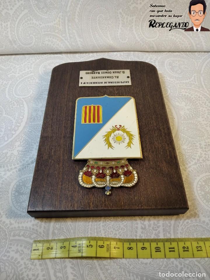 Militaria: METOPA MILITAR (GRUPO REGIONAL INTENDENCIA Nº4) - 18X12 CM. (PLACA DE MADERA CON ESCUDO) ESPAÑA - Foto 7 - 189751386