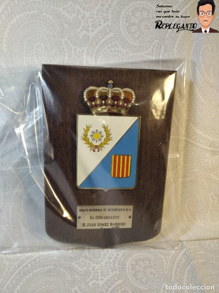 Militaria: METOPA MILITAR (GRUPO REGIONAL INTENDENCIA Nº4) - 18X12 CM. (PLACA DE MADERA CON ESCUDO) ESPAÑA - Foto 8 - 189751386