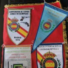 Militaria: 4 BANDERINES DE TIRO OLÍMPICO. 1. AÑOS 70. Lote 189814780