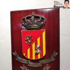 Militaria: METOPA MILITAR (JEFATURA SERVICIOS TERRITORIALES) - 28X17 CM. (PLACA DE MADERA CON ESCUDO) ZARAGOZA. Lote 192067395