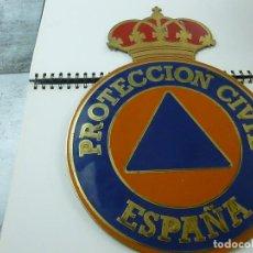 Militaria: GRAN ESCUDO DE PROTECCION CIVIL EN CHAPA METALICA .540 GRAMOS -41 X 29N CENTIMETROS - N . Lote 193743107