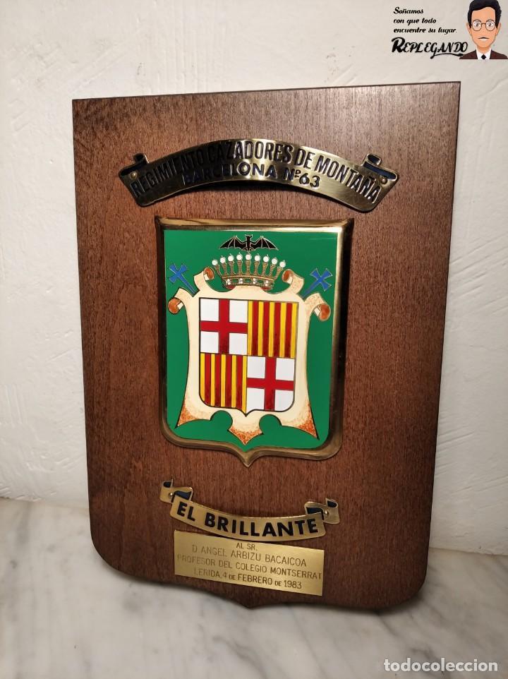 METOPA MILITAR (RGTO. CAZADORES MONTAÑA Nº 63) - 25X17 CM. (EL BRILLANTE) PLACA Y ESCUDO ESPAÑA (Militar - Reproducciones, Réplicas y Objetos Decorativos)