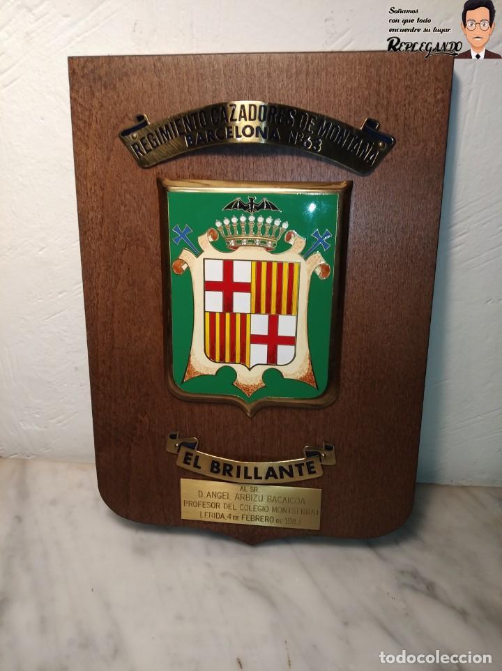 Militaria: METOPA MILITAR (RGTO. CAZADORES MONTAÑA Nº 63) - 25X17 CM. (EL BRILLANTE) PLACA Y ESCUDO ESPAÑA - Foto 2 - 194234712