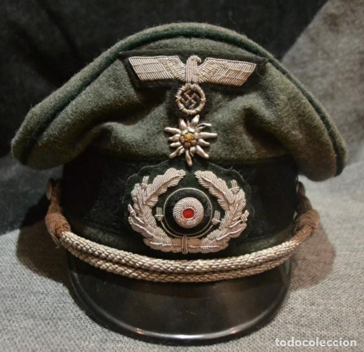 GORRA DE OFICIAL WEHRMACHT GEBIRGSJAGER ,TERCER REICH 58CM (Militar - Reproducciones, Réplicas y Objetos Decorativos)