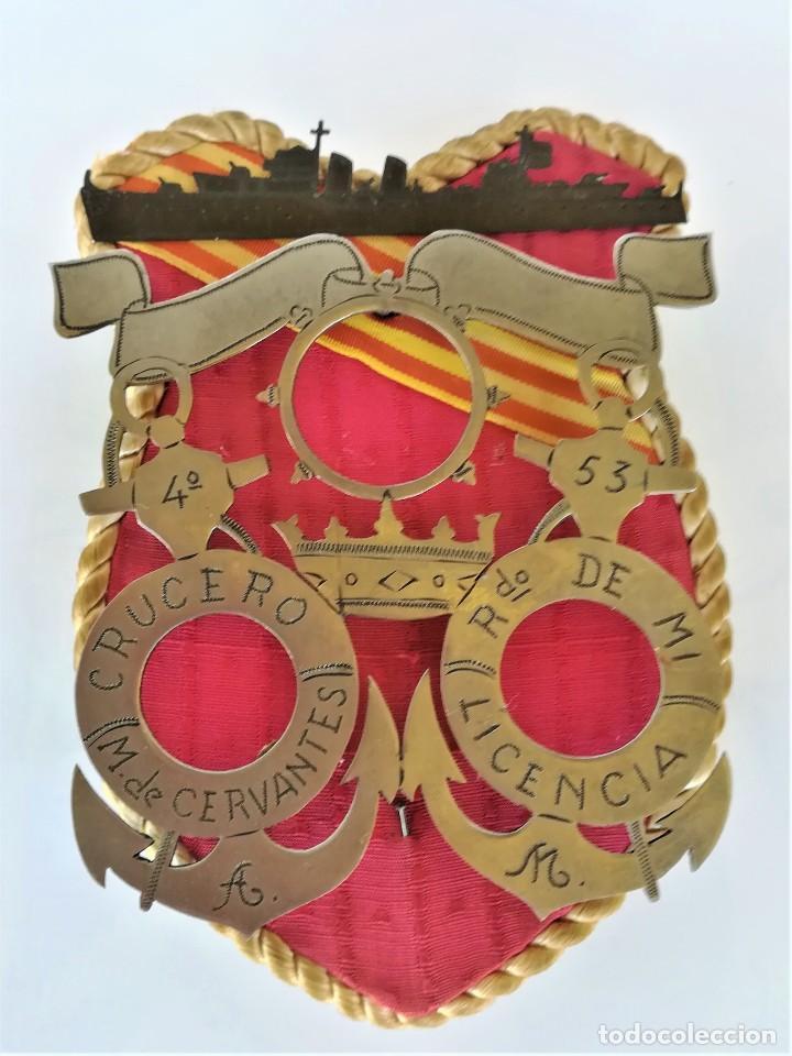 ARMADA ESPAÑA,ESCUDO ARTE MARINO,CRUCERO MIGUEL DE CERVANTES,1953,ACTIVO GUERRA CIVIL ESPAÑOLA-IFNI (Militar - Reproducciones, Réplicas y Objetos Decorativos)