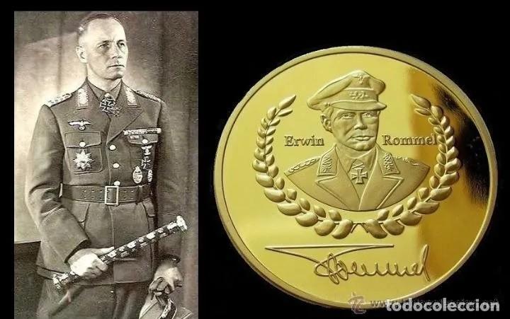 BONITA MONEDA CON ORO 24K ALEMANIA DE ERWIN ROMMEL FIRMA 1891-1944 DEUTSCHE WEHRMACHT NAZI COIN (Militar - Reproducciones, Réplicas y Objetos Decorativos)