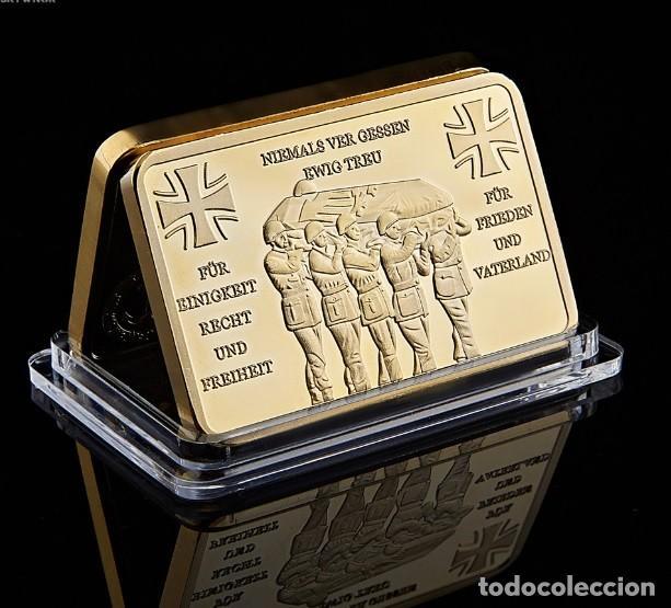 LINGOTE ALEMANIA CON ORO DEUTSCHE BUNDESWEHR NUNCA OLVIDAREMOS SIEMPRE FIELES (Militar - Reproducciones, Réplicas y Objetos Decorativos)