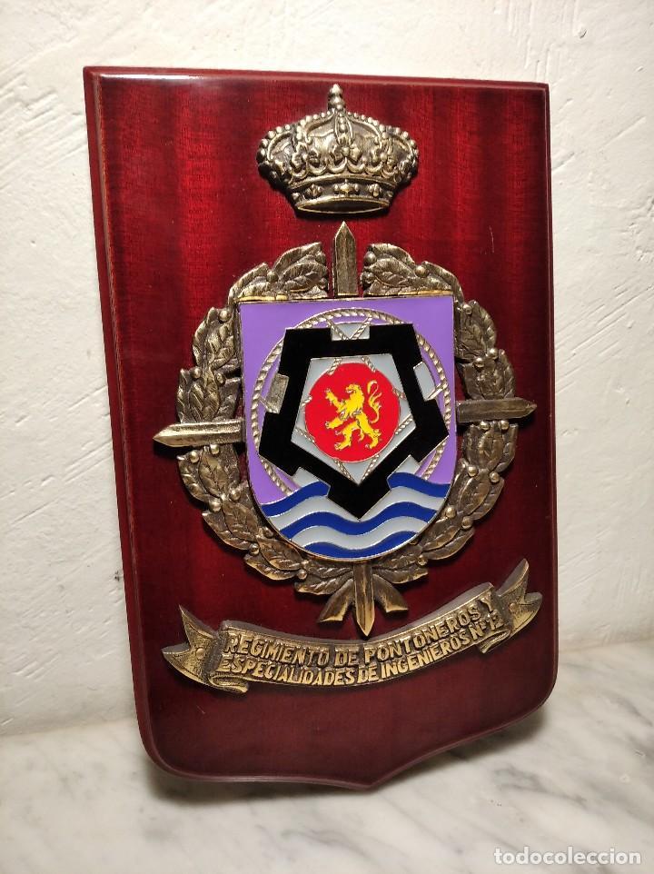 METOPA MILITAR (RGTO. DE PONTONEROS E INGENIEROS Nº 12) - 28X18 CM. PLACA Y ESCUDO ESPAÑA (Militar - Reproducciones, Réplicas y Objetos Decorativos)