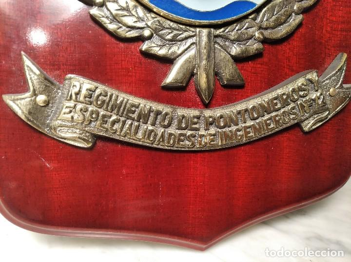 Militaria: METOPA MILITAR (RGTO. DE PONTONEROS E INGENIEROS Nº 12) - 28X18 CM. PLACA Y ESCUDO ESPAÑA - Foto 3 - 215820683