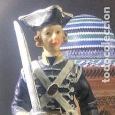 Militaria: OFICIAL GUERRAS NAPOLEÓNICAS, SABLE AL HOMBRO, FIGURA MILITAR EN PASTA CERÁMICA, ENORME: 18,5 CM. Lote 218183332