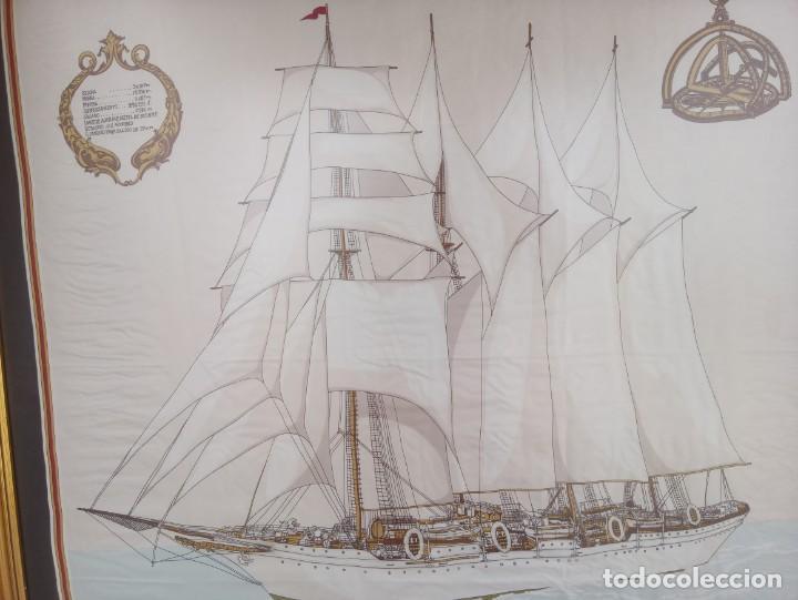 Militaria: Pañuelo de seda enmarcado del buque Juan Sebastián Elcano - Foto 2 - 218666741