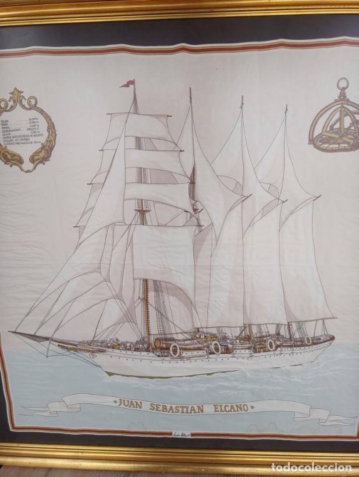 Militaria: Pañuelo de seda enmarcado del buque Juan Sebastián Elcano - Foto 3 - 218666741