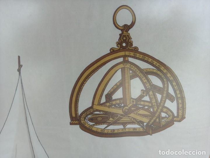 Militaria: Pañuelo de seda enmarcado del buque Juan Sebastián Elcano - Foto 5 - 218666741