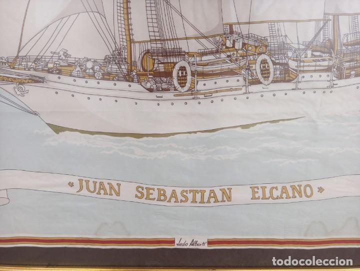 Militaria: Pañuelo de seda enmarcado del buque Juan Sebastián Elcano - Foto 6 - 218666741