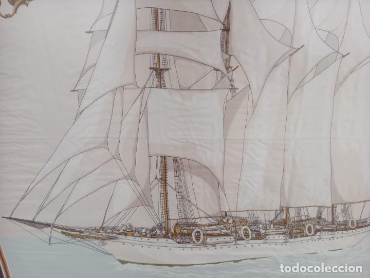 Militaria: Pañuelo de seda enmarcado del buque Juan Sebastián Elcano - Foto 7 - 218666741