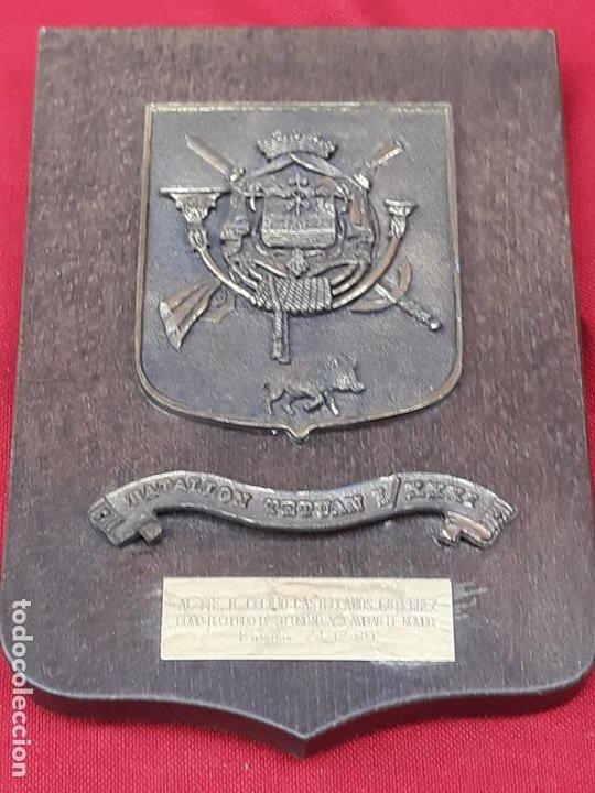 Militaria: METOPA MILITAR EN BRONCE Y BASE EN MADERA - BATALLON TETUAN I / XXXI. - Foto 2 - 219543871