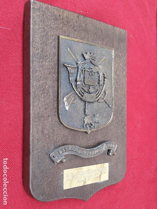 Militaria: METOPA MILITAR EN BRONCE Y BASE EN MADERA - BATALLON TETUAN I / XXXI. - Foto 3 - 219543871