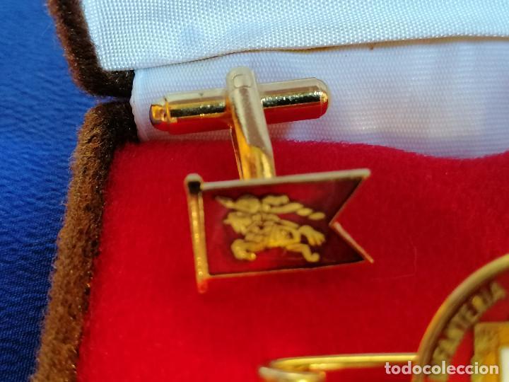 Militaria: REGIMIENTO DE INFANTERIA VIZCAYA Nº 21 ALCOY - PISA CORBATAS Y GEMELOS EN SU CAJA ORIGINAL - Foto 5 - 219667358