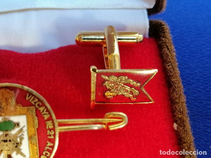 Militaria: REGIMIENTO DE INFANTERIA VIZCAYA Nº 21 ALCOY - PISA CORBATAS Y GEMELOS EN SU CAJA ORIGINAL - Foto 6 - 219667358