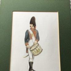Militaria: LÁMINA CON PASPARTÚ - TAMBOR GRANADEROS REGIMIENTO ZAMORA 1814 - FIRMA BERASATEGUI. Lote 221710270