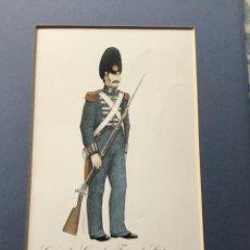 Militaria: LÁMINA CON PASPARTÚ DE GRANADERO GUARDIA FERNANDO VII 1827 - FIRMA BERASATEGUI. Lote 221711118