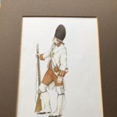 Militaria: LÁMINA CON PASPARTÚ DE GRANADERO REGIMIENTO NAVARRA 1779 - FIRMADA BERSATEGUI. Lote 221712412