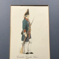 Militaria: LÁMINA CON PASPARTÚ DE GRANADERO GUARDIA VALONA 1740 - FIRMADA BERASATEGUI. Lote 221713173