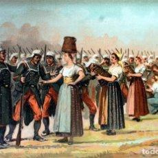 Militaria: LÁMINA CUADRO CARIDAD DE LAS MUJERES DE SALDÍAS, NAVARRA. GUERRA CARLISTA. PINTOR: ALAMINOS. 1895. Lote 237388555