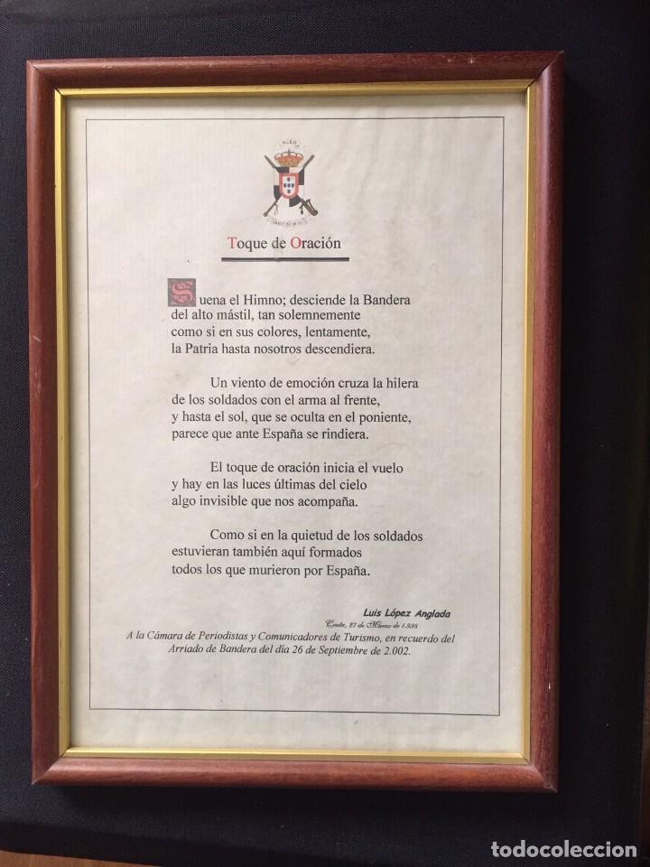 TOQUE DE ORACIÓN MILITAR CEUTA ENMARCADO Y CON DEDICATORIA (Militar - Reproducciones, Réplicas y Objetos Decorativos)