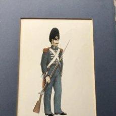 Militaria: LÁMINA CON PASPARTÚ DE GRANADERO GUARDIA FERNANDO VII 1827 - FIRMA BERASATEGUI. Lote 225228950