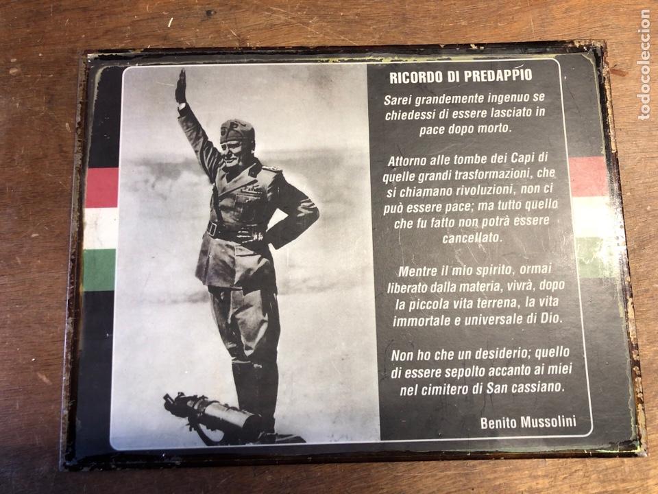 CHAPA DE BENITO MUSSOLINI 35X26,5CM (Militar - Reproducciones, Réplicas y Objetos Decorativos)