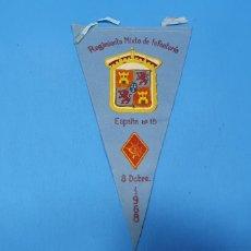 Militaria: BANDERÍN DE FIELTRO - REGIMIENTO MIXTO DE INFANTERÍA - ESPAÑA N° 18 - 8 DCBRE. 1968. Lote 236524280