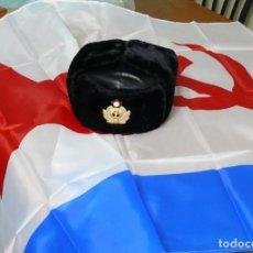 Militaria: GORRA DE OFICIAL DE INVIERNO DE LA ARMADA DE LA URSS+ BANDERA. Lote 243037030