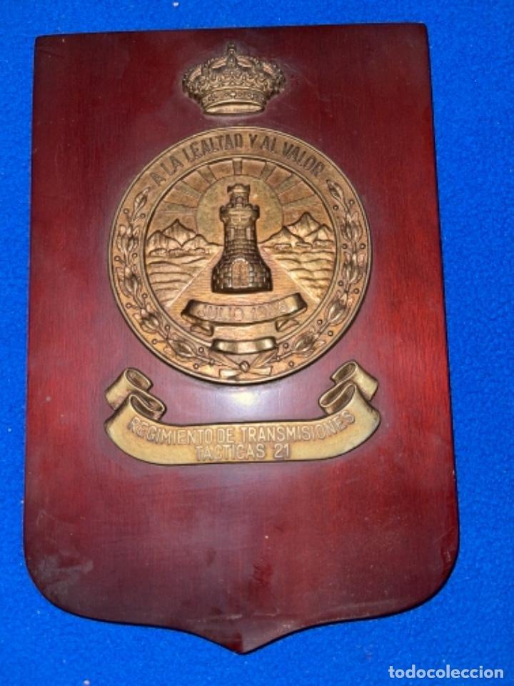 PRECIOSA METOPA REGIMIENTO DE TRANSMISIONES TÁCTICAS 21 (Militar - Reproducciones, Réplicas y Objetos Decorativos)