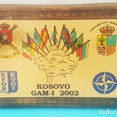 "Militaria: METOPA DE MADERA 24 X 35 CM KOSOVO GAM-I 2002, KFOR Y KSPAGGT-VIII ""ARAGON"". Lote 293724663"