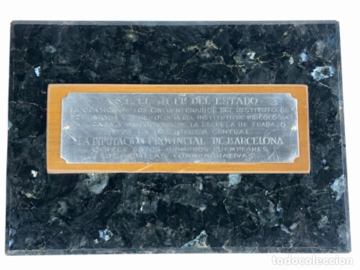 PLACA MEDALLA OTORGADA A FRANCISCO FRANCO 50 ANIV. PLATA DE LEY (Militar - Reproducciones, Réplicas y Objetos Decorativos)