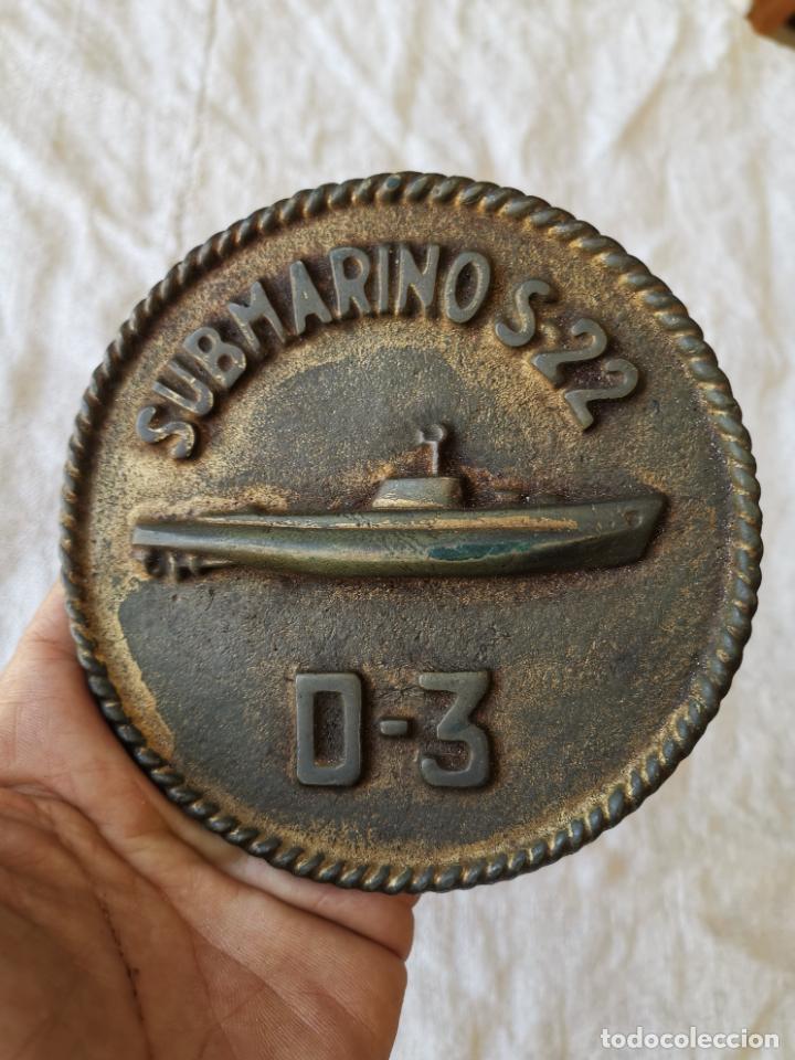 ARMADA ESPAÑOLA ESCUDO METOPA BRONCE SUBMARINO S22--D3-----REF-IS (Militar - Reproducciones, Réplicas y Objetos Decorativos)