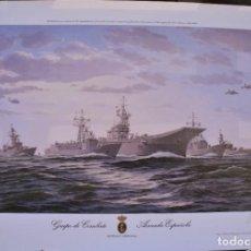 Militaria: GRUPO DE COMBATE ARMADA ESPAÑOLA LAMINA FIRMADA Y NUMERADA OLEO ORIGINAL DE ESTEBAN ARRIAGA. Lote 288383048
