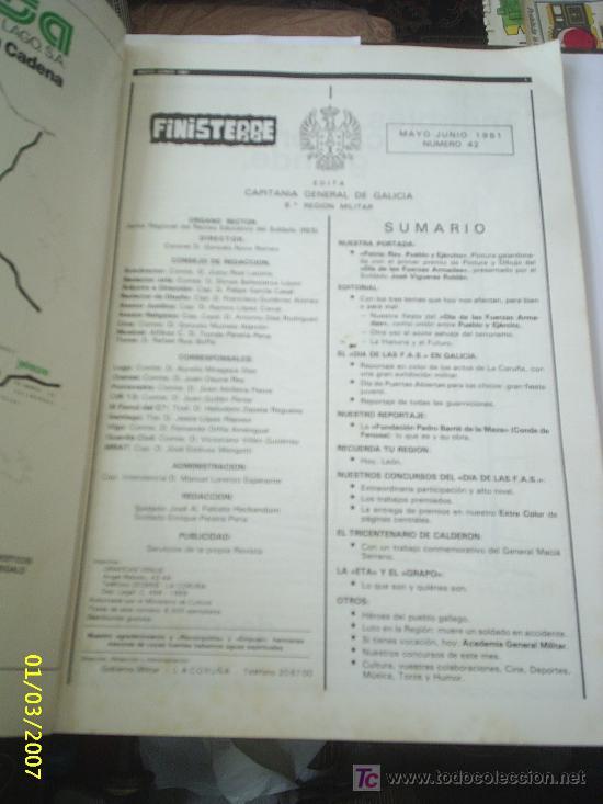Militaria: Revista Finisterre, Capitania General de Galicia, Mayo-Junio 1981 - Foto 2 - 25096681
