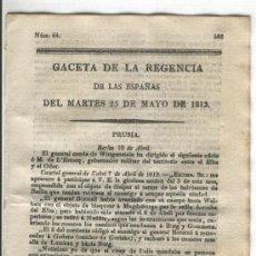 Militaria: GACETA DE LA REGENCIA.1813.GUERRA DE LA INDEPENDENCIA.EN AMERICA.CUZCO.TUCUMAN.GOYENECHE.PERU.POTOSI. Lote 53871423