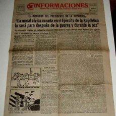 Militaria: ANTIGUO PERIODICO INFORMACIONES, DIARIO DE LA NOCHE DEL PARTIDO SOCIALISTA - 19 DE JULIO DE 1937 - P. Lote 19255354