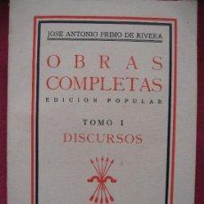 Militaria: DISCURSOS DE JOSE ANTONIO PRIMO DE RIVERA TOMO I 1939. Lote 7568102