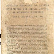 Militaria: NOTA DEL MINISTERIO DE ASUNTOS EXTERIORES DEL REICH DIRIGIDA AL GOBIERNO SOVIÉTICO, 1941 . Lote 26361478