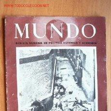 Militaria: MUNDO REVISTA SEMANAL DE POLÍTICA EXTERIOR Y ECONOMÍA Nº 92. 8 FEBRERO 1942.. Lote 25537707