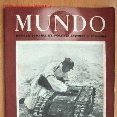 Militaria: MUNDO Nº 207 - 23 DE ABRIL DE 1944 - REVISTA SEMANAL DE POLÍTICA EXTERIOR Y ECONOMÍA. Lote 25506814