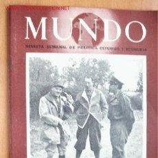 Militaria: MUNDO Nº 211 - 21 DE MAYO DE 1944 - REVISTA SEMANAL DE POLÍTICA EXTERIOR Y ECONOMÍA. Lote 1695877