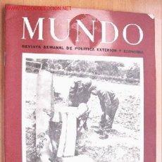 Militaria: MUNDO Nº 230 - 4 DE OCTUBRE DE 1944 - REVISTA SEMANAL DE POLÍTICA EXTERIOR Y ECONOMÍA. Lote 1980416