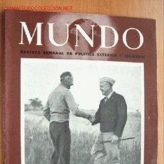 Militaria: MUNDO Nº 262 - 13 DE MAYO DE 1945 - REVISTA SEMANAL DE POLÍTICA EXTERIOR Y ECONOMÍA. Lote 25506829