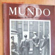 Militaria: MUNDO Nº 265 - 3 DE JUNIO DE 1945 - REVISTA SEMANAL DE POLÍTICA EXTERIOR Y ECONOMÍA. Lote 1705001