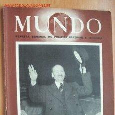Militaria: MUNDO Nº 289 - 18 DE NOVIEMBRE DE 1945 - REVISTA SEMANAL DE POLÍTICA EXTERIOR Y ECONOMÍA. Lote 1705005